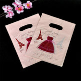 15X20CM Red Dress Design Pink Plastic Gift Bag For Boutique Wedding Gift Packaging