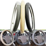 Plaited Grid Genuine Cowhide Leather Steering Wheel Cover for 15 Inches Wheel Size Car