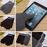 Men Male Touch Screen Driving Gloves Full Finger Leather Cotton Riding Mittens