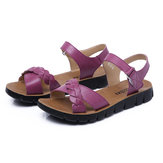 US Size 5-10 Women Summer Flat Casual Outdoor Soft Comfortable Leather Beach Flat Sandals Shoes