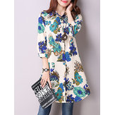 Vintage Floral Printing Lapel Long Sleeve Loose Women Blouse