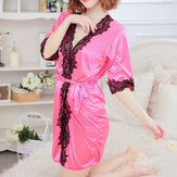 Sexy Women Satin Black Flower Lace V-Neck Half Sleeve Lingerie Robe