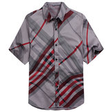 Summer Mens Striped Business Shirts Fashion Casual Short Sleeve Dress Shirts