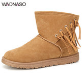 WADNASO Women Snow Boots Winter Plush Cotton Keep Warm Suede Comfortable Boots
