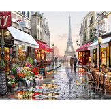40X50CM Frameless Lovers Under The Eiffel Tower Linen Canvas Oil Painting DIY Paint By Numbers