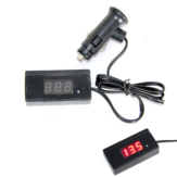 12V 24V Mini Red LED Digital Display Voltmeter Vehicle Voltage Meter Tester With Cable