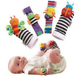 4Pcs Lovely Animal Baby Infant Kids Rattles Finders Glove Toys Hand Foot Socks Set
