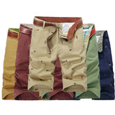 Original Mens Cotton Loose Big Size Cargo Shorts Summer Casual Knee Length Solid Color Beach Shorts