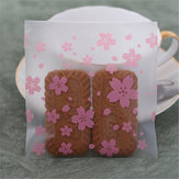 100pcs Pink Transparent Cherry Blossoms OPP Wedding Candy Cookie Biscuits Cake Baking Packaging Bag