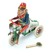 Vintage Wind Up Circus Monkey Ride a Car Clockwork Key Tin Toy Gift Decor Collcetion