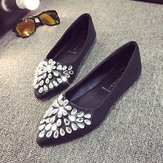 Women Rhinestone Crystal Beaded Decoration Flat Pointed Toe Loafers