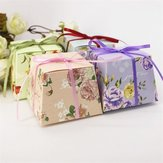 50Pcs Flower Printed Ribbon Candy Box Birthday Gift Boxes Wedding Favors Party Supplies