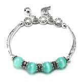 Elastic Silver Hollow Carved Crystal Pendant Bead Abacus Bracelet For women