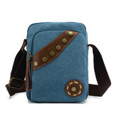 Vintage Canvas Rivet Shoulder Bags Small Crossbody Bags Outdoor Cycling Messenger Bags