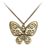 Vintage Bronze Retro Carved Butterfly Sweater Chain Necklace