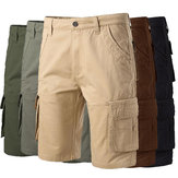 ChArmkpR Plus Size 30-46  Mens Military Multi-pocket Cargo Shorts Cotton Solid Color Work Shorts