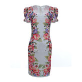 Women Sexy Slim Fit Short Sleeve Floral Cocktail Evening Dress