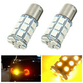 Pair 21W 5050 27SMD LED Car Turn Signal Light Tail Lamp Reverse Bulb Yellow 12V