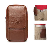 4.7/5.5'' Phone Bag Genuine Leather Waist Bag Vintage Solid Cell Phone Pouch For Men