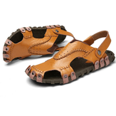 Original  Men's Sandals Genuine Leather Soft Sole Casual Toe Breathable Cooler Shoes Summer Beach Cowhide