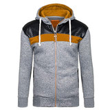Fashion Mens Cashmere Cardigan Hoodie Sweater Casual Splicing Zipper Sport Hoodies