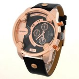 CAGARNY 6819 Men Military Japan Quartz Watch with Calendar Large Round Dial Leather Band