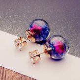 Trendy Colorful Rhinestone Glass Ball Flower Round Earrings
