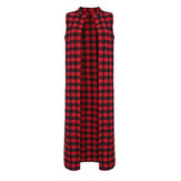 Sexy Women Sleeveless Check Plaid Split ClubWear Casual Blouse