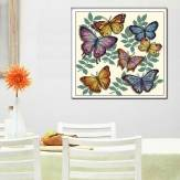 40x40cm Colorful Butterflies Cross Stitch Kit Embroidery Set Home Dedroom Decor
