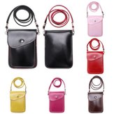 2 Layer PU Leather Smartphone Case Cover Pouch Carry Bag with Shoulder Strap