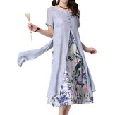 Ethnic Fake Two Piece Floral Printed O-Neck Short Sleeve Dress For Female