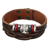 Unisex Punk Leather Beads Braided Wristband Bangle Bracelet