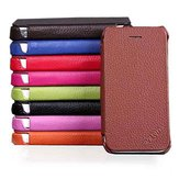 Genuine Flip Leather Hard Back Case Cover For iPhone 4 4S