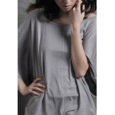 China Wholesale Fashion Ladies Round Collar Loose Dolman Batwing Sleeve Women T-shirt