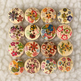 100pcs 15.0mm Mixed Pattern Wooden Scrapbook Sewing Buttons