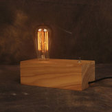 Nostalgic Dimming Vintage Edison Light Solid Wooden Table Lamp