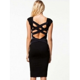 China Wholesale Backless Bandage Knee Length Black Bodycon Dress