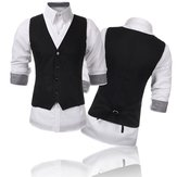 Mens V-neck Solid Casual Suit Vest Fashion Slim Fit Waistcoats