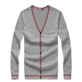 Men Contrast Color V-Neck Cardigan Sweater Jumper Tops Knitwear