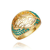 18K Gold Plated Hollow Leaf Crystal Rhinestone Finger Ring For Women