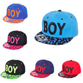 Unisex BOY Letter  Embroidery  Baseball Cap Leopard Brim Snapback Adjustable Hat