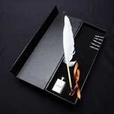 LS802-A White Quill Dip Pen Goose Feather Pen Gift Set