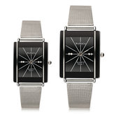 WOMAGE 9366-1 Men Women Casual Square Stainless Steel Quartz Couple Watch