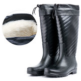 New Men Thickening Plush Keep Warm Detachable Non-slip Waterproof Tall Rubber Boots Rain Boots