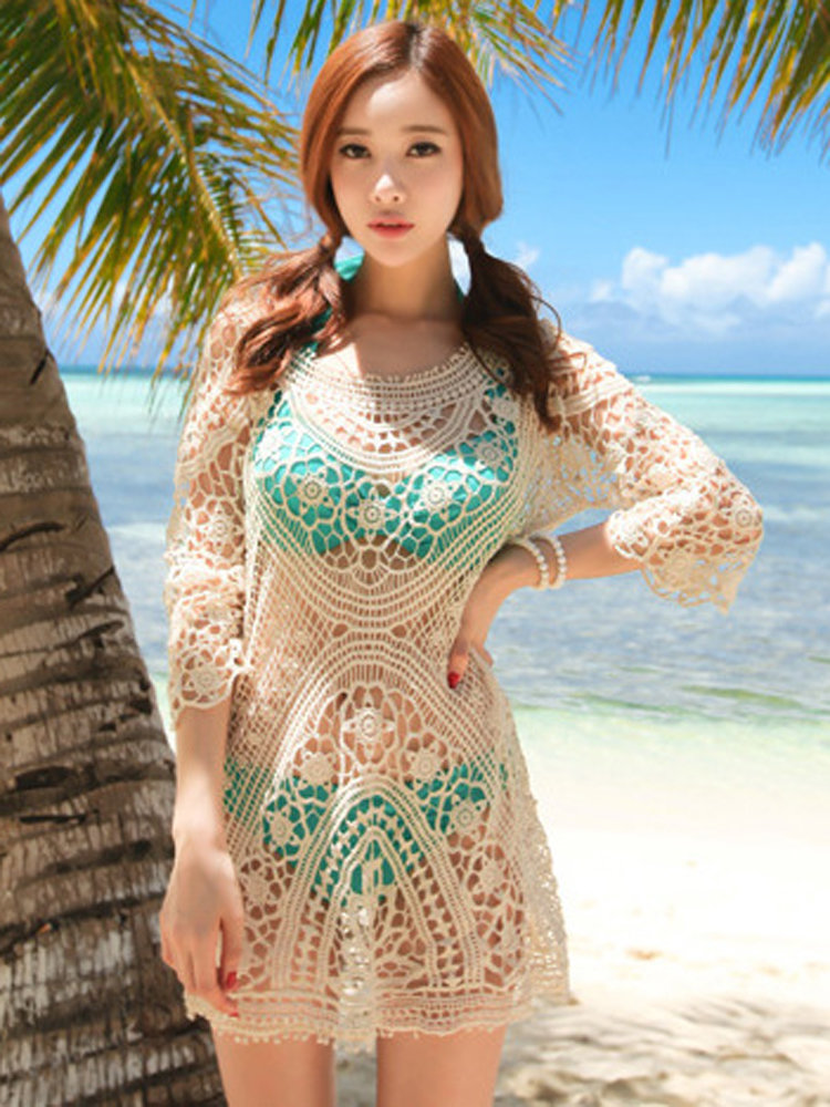 Women Sexy Floral Lace Crochet Swimwear Mini Dress