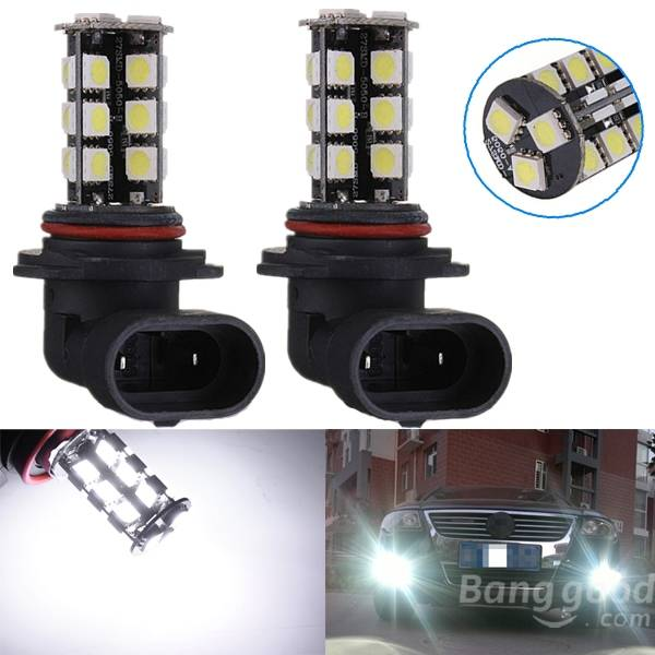 2pcs 9006 27-LED 5050 SMD Car Auto Xenon White Head Fog Headlight Light Bulbs tcart 2x 9005 hb3 9006 hb4 dual color car led headlight white yellow headlamp bulbs fog lamps for plips chip 36w auto led light