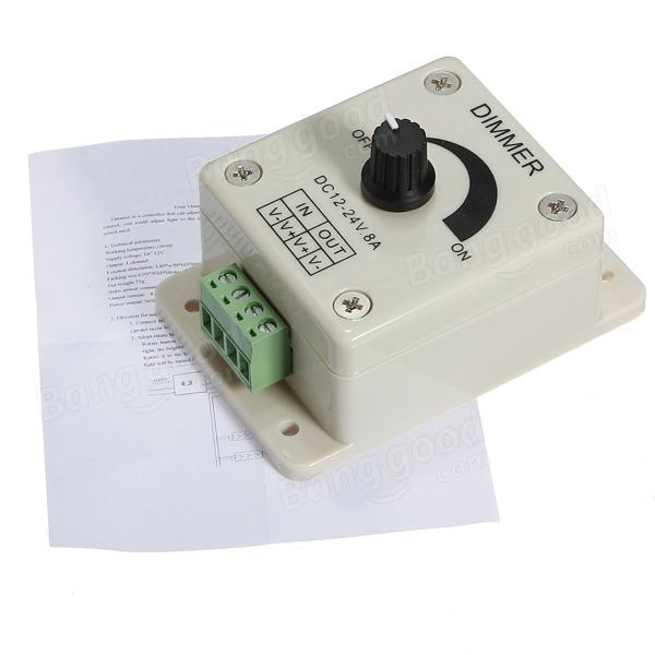 DC 12-24V 8A Adjustable Dimmer Switch