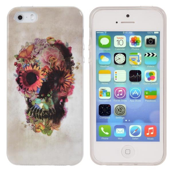 Skull Heads Pattern TPU Case Protection Back Cover For iPhone 5 5S glossy tpu gel back protection case for iphone 7 plus light purple
