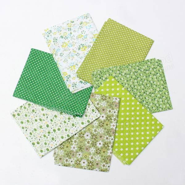 7 Assorted Green Series Cotton Sewing Quilt Fabric Bundles Set