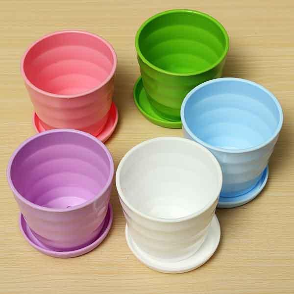 Plastic Thread Flower Pot With Tray